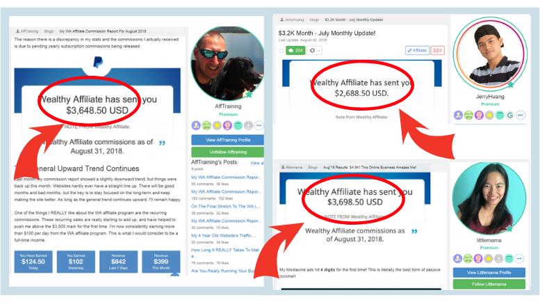Wealthy Affiliate Members earn money online testimonial