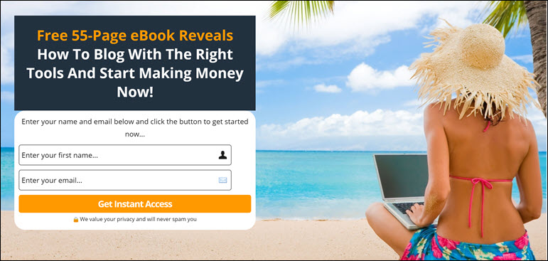 Beginners' Guide to Blogging Success eBook signup page