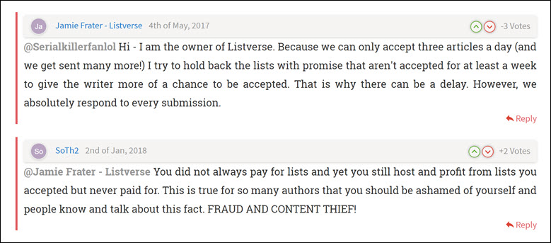 Complaints about Jamie Frater, founder of Listverse