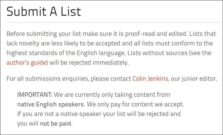 A page showing Listverse only accept native English speakers for list submission