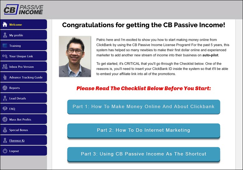 CB Passive Income 5.0 Customer Dashboard
