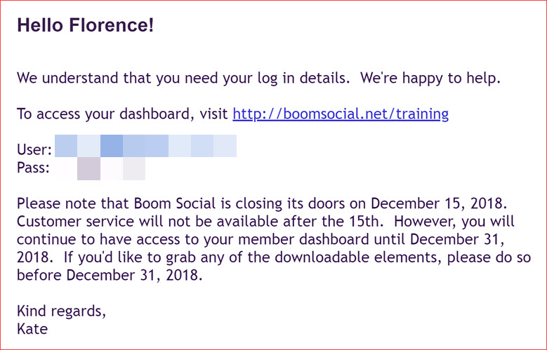 Social Boom Closing Its Door on 15 Dec 2018