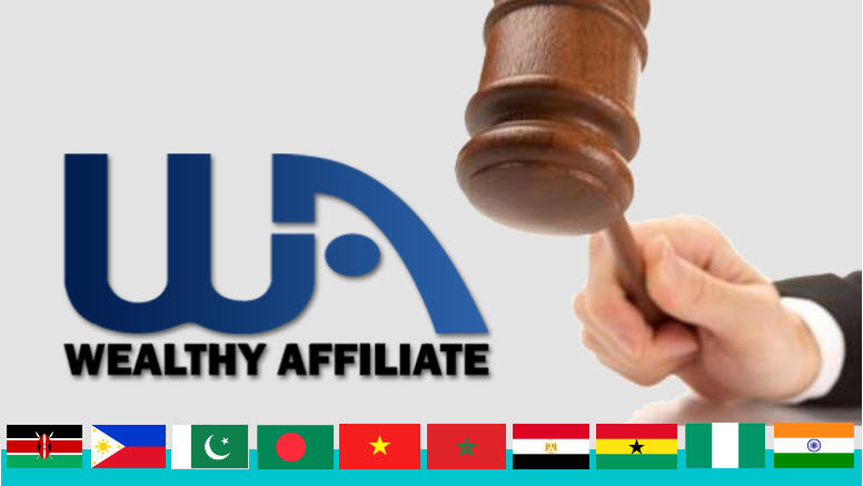 Countries not supported by Wealthy Affiliate as at 21st December 2018