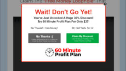 Pop up Discount on Sales Page of 60 Minute Profit Plan