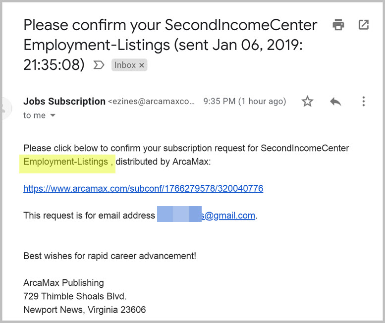 Confirm Your Subscription_ Second Income Center Employment Listing