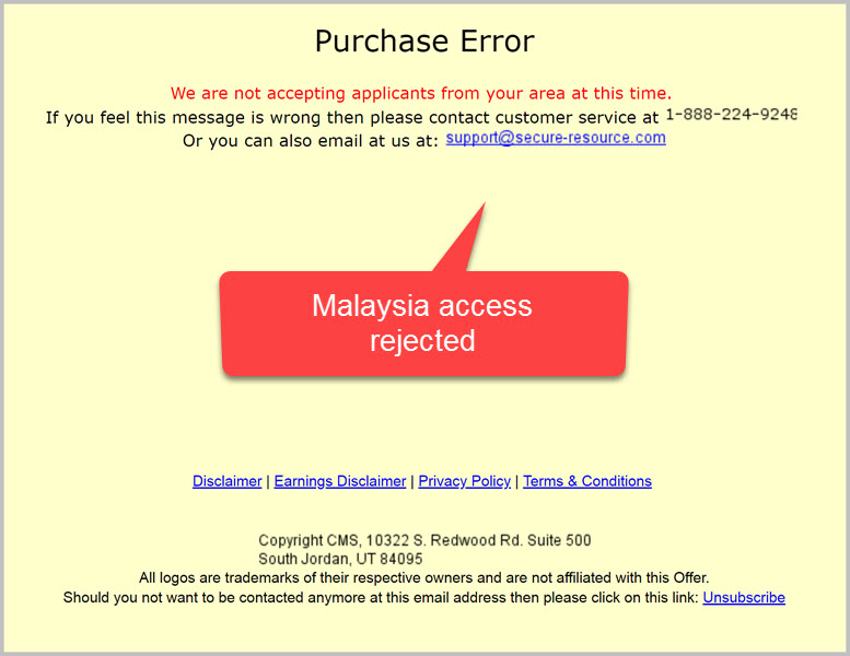 Optin to Second Income Center rejected _ Restricted countries _ Malaysia