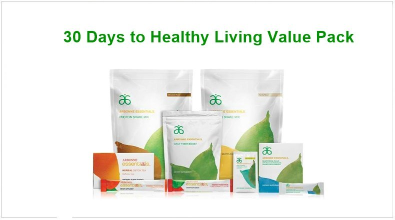 30 Days Arbonne Essentials month long supply of protein shakes, fiber booster, herbal teas and health supplements